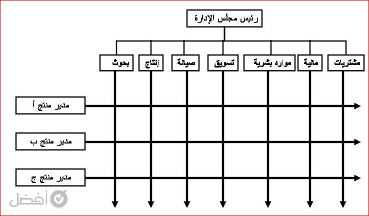 الهيكل المصفوفي الهيكل التنظيمي للشركات التجارية