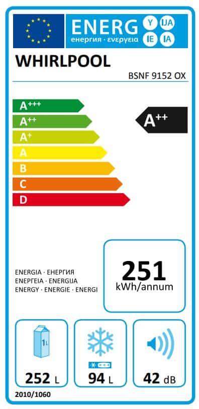 استهلاك الطاقة في Whirlpool BSNF 9152 OX
