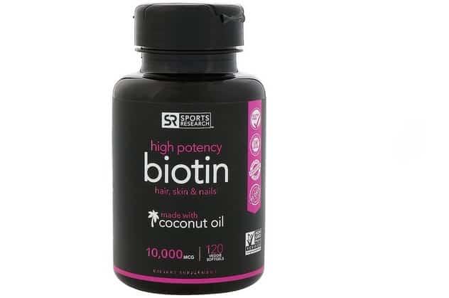 فيتامين بيوتين جوز الهند Sports Research, Biotin with Organic Coconut Oil افضل منتجات اي هيرب للشعر
