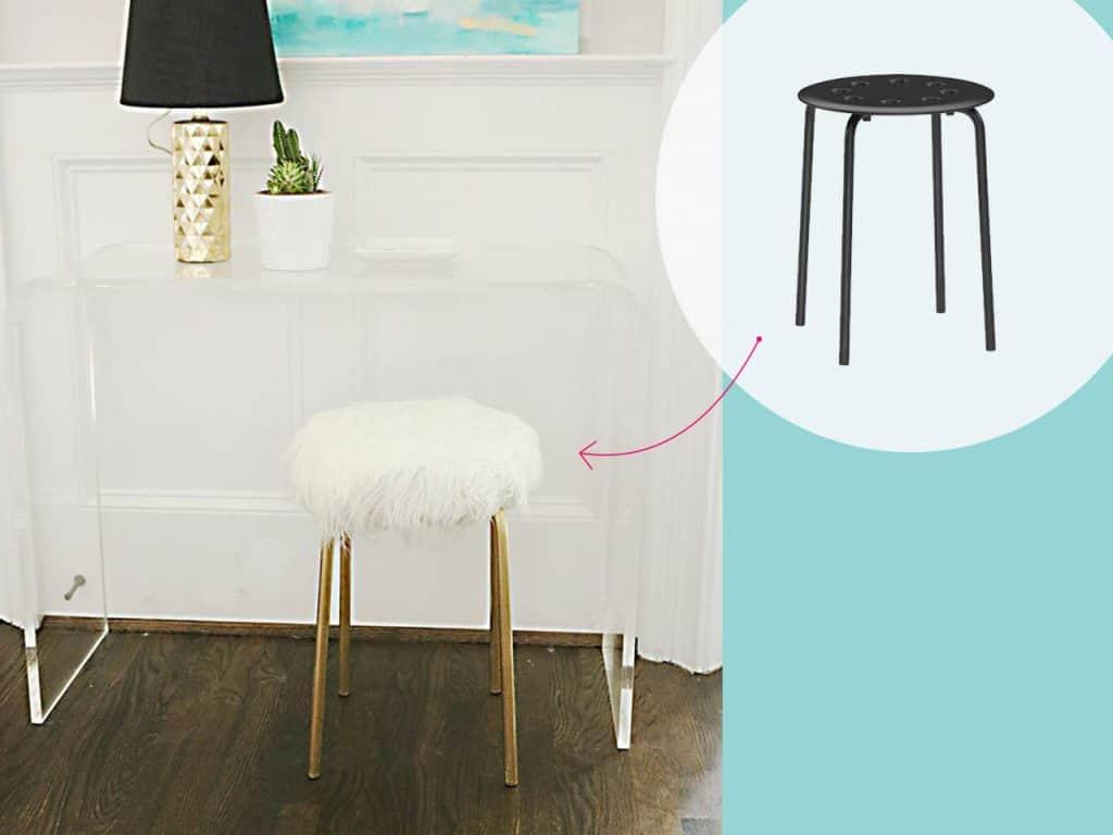 تحويل كرسي بلاستيكي صغير إلى كرسي مغلف بالفراء