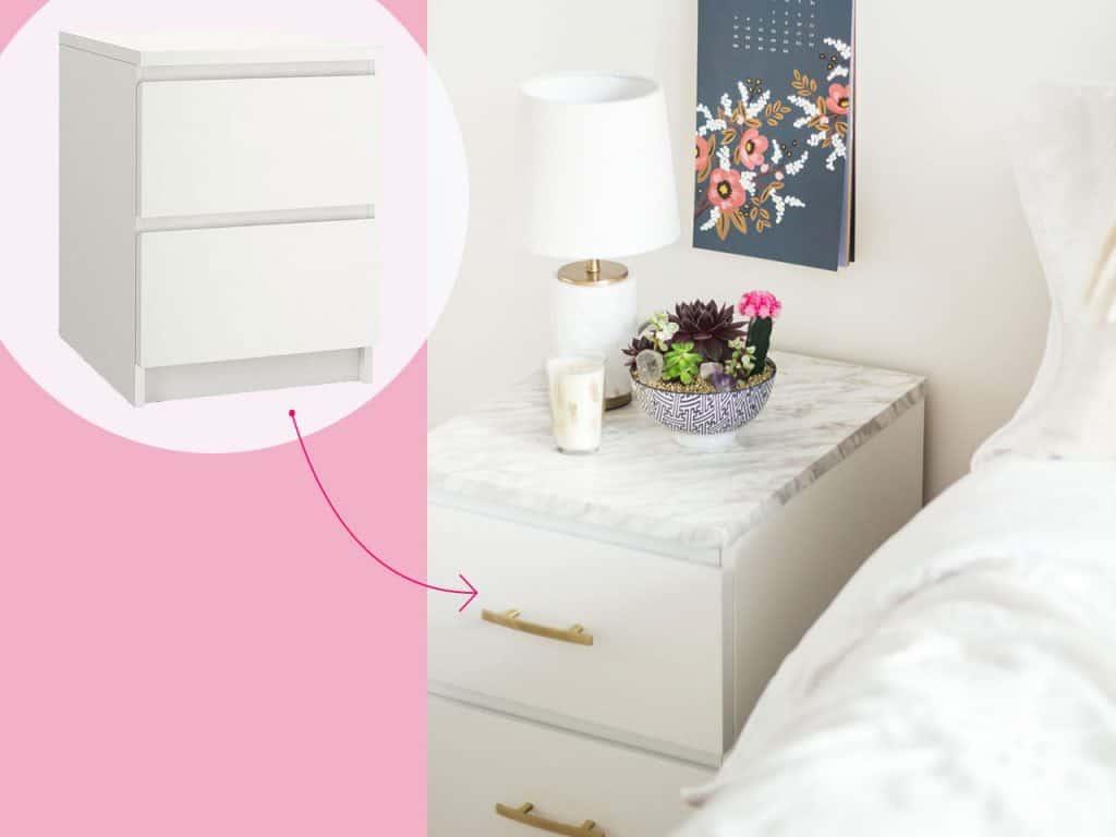 تحويل درج ملابس أبيض إلى منضدة جانب السرير