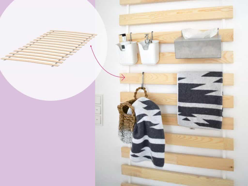 تحويل ألواح السرير إلى حائط تنظيم في الحمام