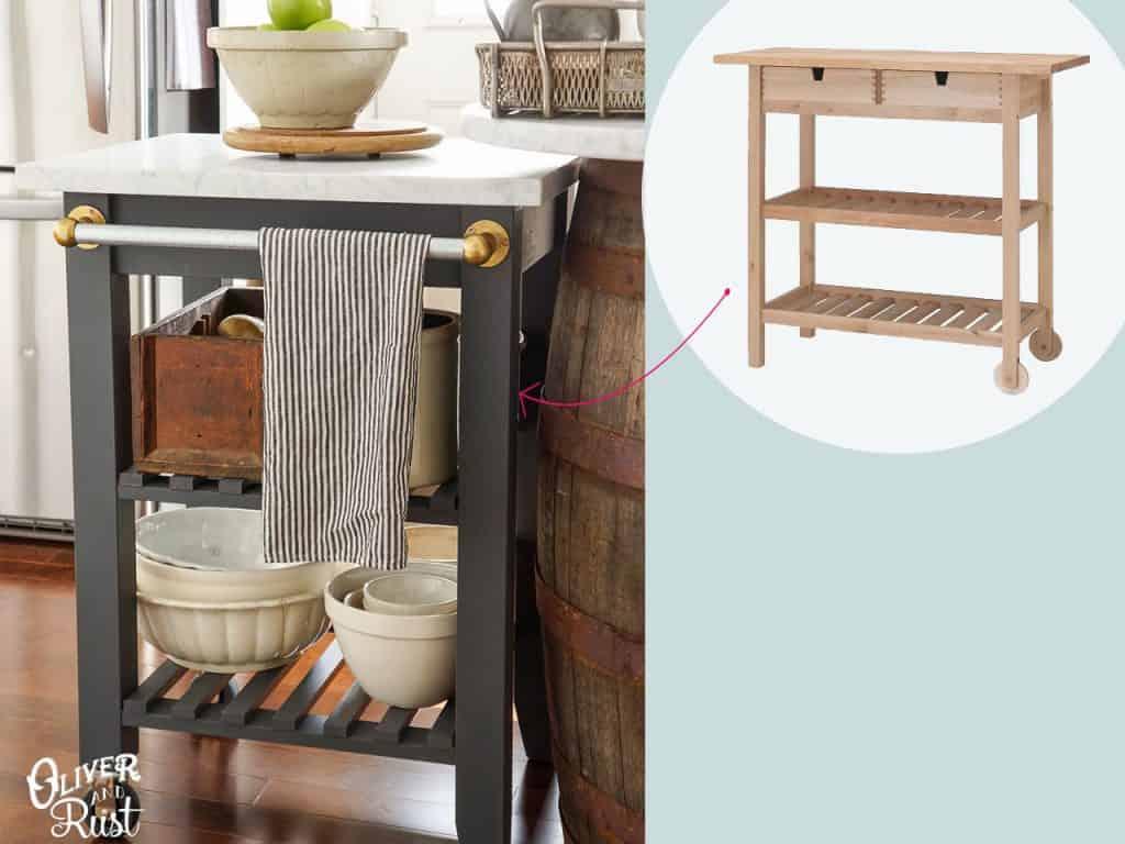 تحويل عربة المطبخ على منضدة متنقلة