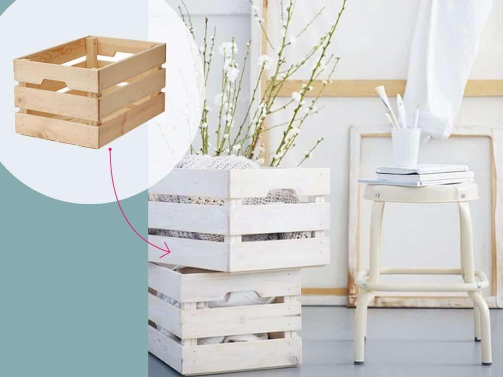 تحويل صندوق خشبي إلى مخزن للبطانيات