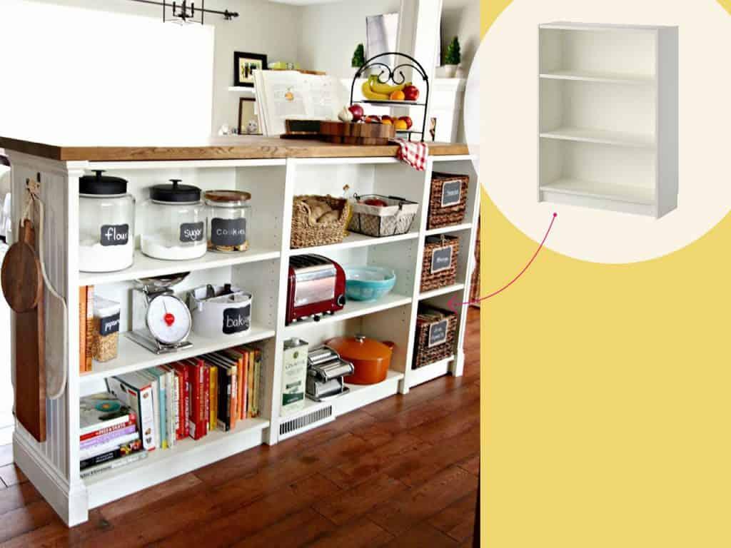 تحويل أرفف الكتب إلى خزانة مطبخ