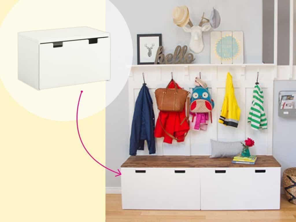 تحويل دكَّة تخزين إلى مخزن صغير للأحذية والملابس الخارجية