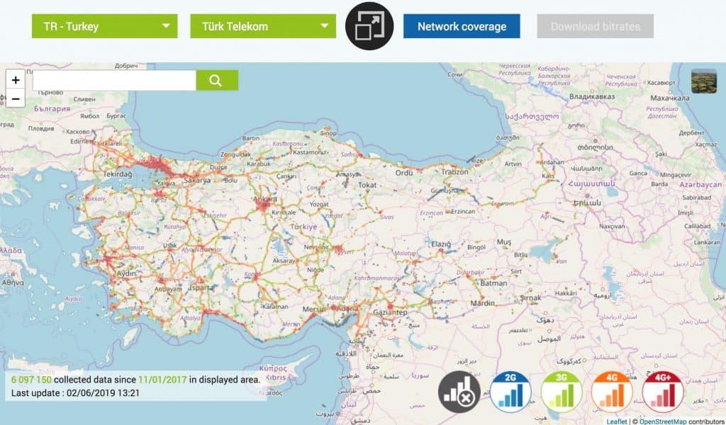 افضل شركة اتصالات في تركيا 2019 4g_coverage_map_turkey_turk_telekom