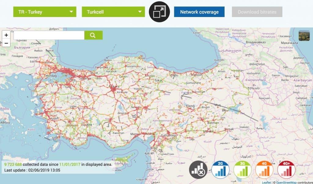 افضل شريحة اتصال في تركيا 2019 4g_coverage_map_turkey_turkcell