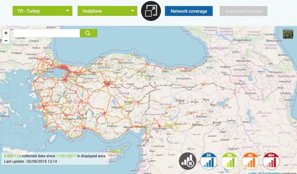 افضل شريحة اتصال في تركيا 2018 4g_coverage_map_turkey_vodafone