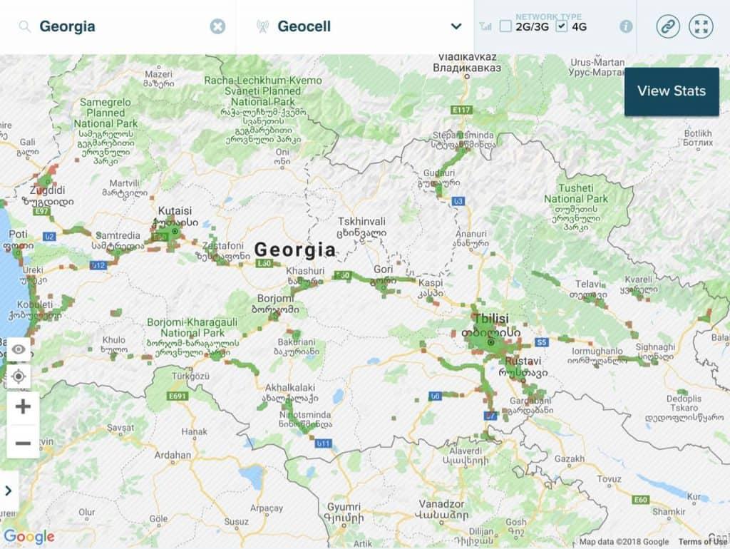 شبكة فور جي 4G جيوسيل جورجيا