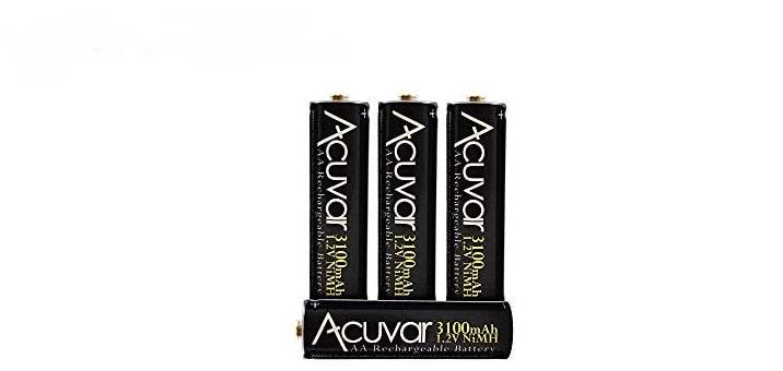 بطاريات أكيوڤار Acuvar 4AABT NiMH افضل بطاريات قابلة للشحن