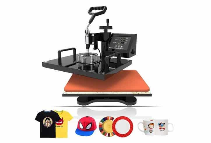 سعر ماكينة طباعة التيشرتات بمصر 2018 Heat Press Machine 15x15 inch - TUSY 5 in 1 Swing Away Digital